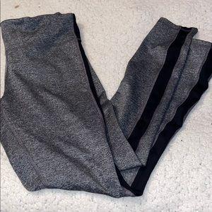 Champion Heather Grey Leggings with Black stripe